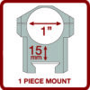 "Gamo Mount TS-250 1"" Medium rail one piece mount-3651"